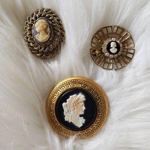 B2G1 VTG Set of 3 Goldtone Cameo Brooches/Pins